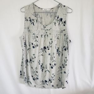Rickis grey floral tank with blue size XL